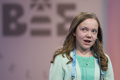 """<div class=""""meta image-caption""""><div class=""""origin-logo origin-image ap""""><span>AP</span></div><span class=""""caption-text"""">Ainsley Boucher, 12, from Crookston, Minn., correctly spells her word during the 90th Scripps National Spelling Bee in Oxon Hill, Md., Wednesday, May 31, 2017. (AP Photo/Cliff Owen)</span></div>"""