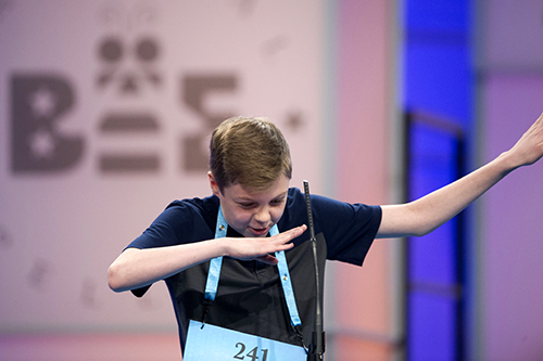 """<div class=""""meta image-caption""""><div class=""""origin-logo origin-image ap""""><span>AP</span></div><span class=""""caption-text"""">Will Rooke, 13, from Deephaven, Minn., does the dap after correctly spelling his word during the 90th Scripps National Spelling Bee in Oxon Hill, Md., Wednesday, May 31, 2017. (AP Photo/Cliff Owen)</span></div>"""