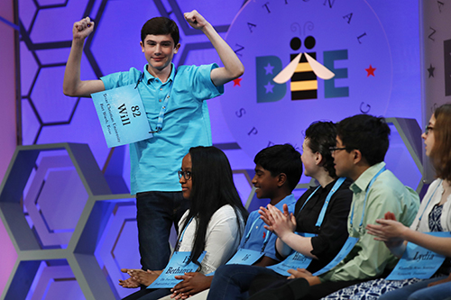 """<div class=""""meta image-caption""""><div class=""""origin-logo origin-image ap""""><span>AP</span></div><span class=""""caption-text"""">Will Lourcey, 14, of Fort Worth, Texas, celebrates after spelling his first word correctly in the 90th Scripps National Spelling Bee in Oxon Hill, Md., Wednesday, May 31, 2017. (AP Photo/Jacquelyn Martin)</span></div>"""