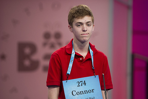 """<div class=""""meta image-caption""""><div class=""""origin-logo origin-image ap""""><span>AP</span></div><span class=""""caption-text"""">Connor Lawrence, 14, from Keedysville, Md., misspells his word during the 90th Scripps National Spelling Bee in Oxon Hill, Md., Wednesday, May 31, 2017. (AP Photo/Cliff Owen)</span></div>"""