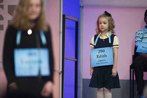 """<div class=""""meta image-caption""""><div class=""""origin-logo origin-image ap""""><span>AP</span></div><span class=""""caption-text"""">Edith Fuller, 6, from Tulsa, Okla., waits to spell her word in the 90th Scripps National Spelling Bee in Oxon Hill, Md., Wednesday, May 31, 2017. (AP Photo/Cliff Owen)</span></div>"""