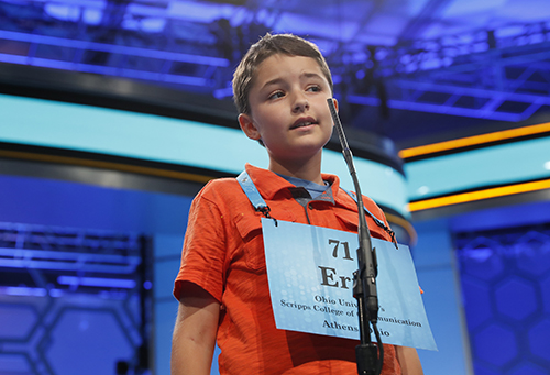 """<div class=""""meta image-caption""""><div class=""""origin-logo origin-image ap""""><span>AP</span></div><span class=""""caption-text"""">Eric Gitson, 11, from Delaware, Ohio, spells his word correctly in the third round of the 90th Scripps National Spelling Bee, Wednesday, May 31, 2017, in Oxon Hill, Md. (AP Photo/Alex Brandon)</span></div>"""