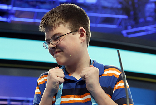 """<div class=""""meta image-caption""""><div class=""""origin-logo origin-image ap""""><span>AP</span></div><span class=""""caption-text"""">Joel Miles, 14, from Greenwood, Mo., reacts after spelling his word correctly in the third round of the 90th Scripps National Spelling Bee, Wednesday, May 31, 2017. (AP Photo/Alex Brandon)</span></div>"""