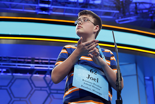 """<div class=""""meta image-caption""""><div class=""""origin-logo origin-image ap""""><span>AP</span></div><span class=""""caption-text"""">Joel Miles, 14, from Greenwood, Mo., spells his word correctly in the third round of the 90th Scripps National Spelling Bee, Wednesday, May 31, 2017, in Oxon Hill, Md. (AP Photo/Alex Brandon)</span></div>"""