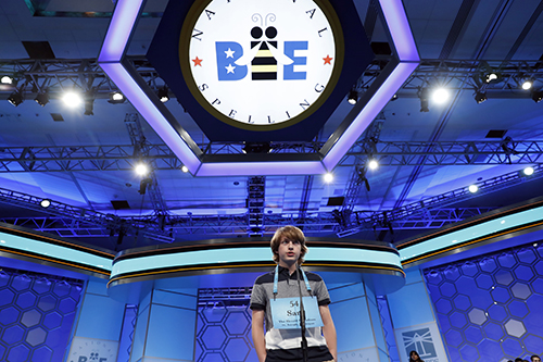 """<div class=""""meta image-caption""""><div class=""""origin-logo origin-image ap""""><span>AP</span></div><span class=""""caption-text"""">Sam Stephens, 14, from Stevensville, Mich., correctly spells his word in the third round of the 90th Scripps National Spelling Bee, Wednesday, May 31, 2017, in Oxon Hill, Md. (AP Photo/Alex Brandon)</span></div>"""