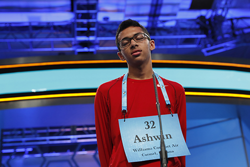 """<div class=""""meta image-caption""""><div class=""""origin-logo origin-image ap""""><span>AP</span></div><span class=""""caption-text"""">Ashwin Prasad, 14, from Carmel, Ind., correctly spells his word in the third round of the 90th Scripps National Spelling Bee, Wednesday, May 31, 2017, in Oxon Hill, Md. (AP Photo/Alex Brandon)</span></div>"""