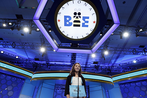 """<div class=""""meta image-caption""""><div class=""""origin-logo origin-image ap""""><span>AP</span></div><span class=""""caption-text"""">Haley Jeffers, 14, from Camarillo, Calif., correctly spells her word in the third round of the 90th Scripps National Spelling Bee, Wednesday, May 31, 2017, in Oxon Hill, Md. (AP Photo/Alex Brandon)</span></div>"""