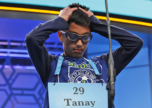 """<div class=""""meta image-caption""""><div class=""""origin-logo origin-image ap""""><span>AP</span></div><span class=""""caption-text"""">Tanay Nandan, 10, from Short Hills, N.J., thinks about his word in the third round of the 90th Scripps National Spelling Bee, Wednesday, May 31, 2017, in Oxon Hill, Md. (AP Photo/Alex Brandon)</span></div>"""