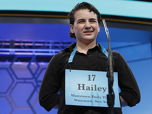 """<div class=""""meta image-caption""""><div class=""""origin-logo origin-image ap""""><span>AP</span></div><span class=""""caption-text"""">Hailey Jinkins, 14, from Alexandria Bay, N.Y., incorrectly spelled his word in the third round of the 90th Scripps National Spelling Bee, Wednesday, May 31, 2017. (AP Photo/Alex Brandon)</span></div>"""