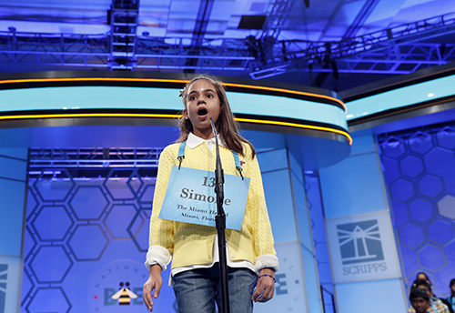 """<div class=""""meta image-caption""""><div class=""""origin-logo origin-image ap""""><span>AP</span></div><span class=""""caption-text"""">Simone Kaplan, 11, from Davie, Fla., reacts after incorrectly spelling her word in the third round of the 90th Scripps National Spelling Bee, Wednesday, May 31, 2017. (AP Photo/Alex Brandon)</span></div>"""