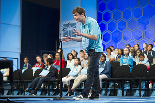"""<div class=""""meta image-caption""""><div class=""""origin-logo origin-image ap""""><span>AP</span></div><span class=""""caption-text"""">Will Lourcey, 14, from Fort Worth, Texas, correctly spells his word during the 90th Scripps National Spelling Bee in Oxon Hill, Md., Wednesday, May 31, 2017. (AP Photo/Cliff Owen)</span></div>"""