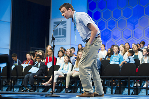 """<div class=""""meta image-caption""""><div class=""""origin-logo origin-image ap""""><span>AP</span></div><span class=""""caption-text"""">Lucas Mooney, 13, from Charles Town, W. Va., correctly spells his word during the 90th Scripps National Spelling Bee in Oxon Hill, Md., Wednesday, May 31, 2017. (AP Photo/Cliff Owen)</span></div>"""