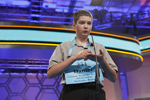 """<div class=""""meta image-caption""""><div class=""""origin-logo origin-image ap""""><span>AP</span></div><span class=""""caption-text"""">Daniel Doudna, 13, from Fairbanks, Alaska, spells his word during the second round 90th Scripps National Spelling Bee, Wednesday, May 31, 2017, in Oxon Hill, Md. (AP Photo/Alex Brandon)</span></div>"""