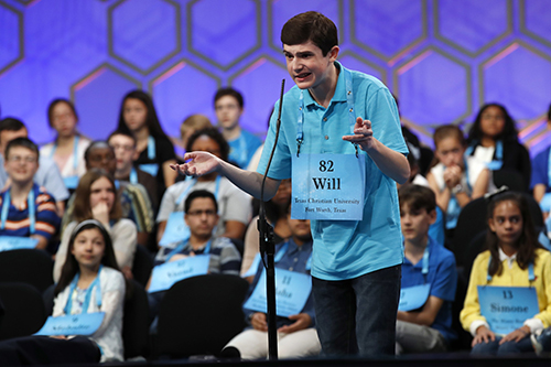 """<div class=""""meta image-caption""""><div class=""""origin-logo origin-image ap""""><span>AP</span></div><span class=""""caption-text"""">Will Lourcey of Fort Worth, Texas, gestures while spelling his first word correctly in the 90th Scripps National Spelling Bee in Oxon Hill, Md., Wednesday, May 31, 2017. (AP Photo/Jacquelyn Martin)</span></div>"""