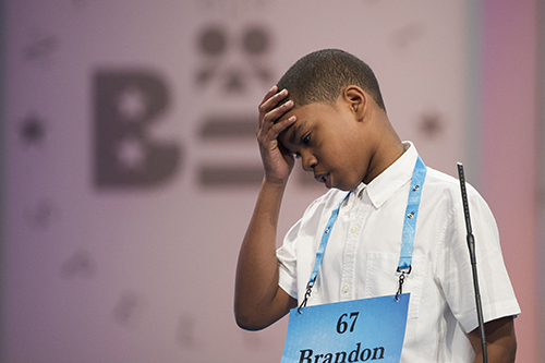 """<div class=""""meta image-caption""""><div class=""""origin-logo origin-image ap""""><span>AP</span></div><span class=""""caption-text"""">Brandon Anderson of Mount Vernon, N.Y. misspells his word during the 90th Scripps National Spelling Bee in Oxon Hill, Md., Wednesday, May 31, 2017. (AP Photo/Cliff Owen)</span></div>"""