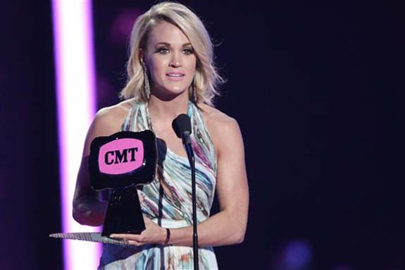 """<div class=""""meta image-caption""""><div class=""""origin-logo origin-image none""""><span>none</span></div><span class=""""caption-text"""">Carrie Underwood accepts the award for female video of the year for â??Smoke Breakâ?? at the CMT Music Awards at the Bridgestone Arena on June 8, 2016, in Nashville, Tenn. (Wade Payne/Invision/AP)</span></div>"""