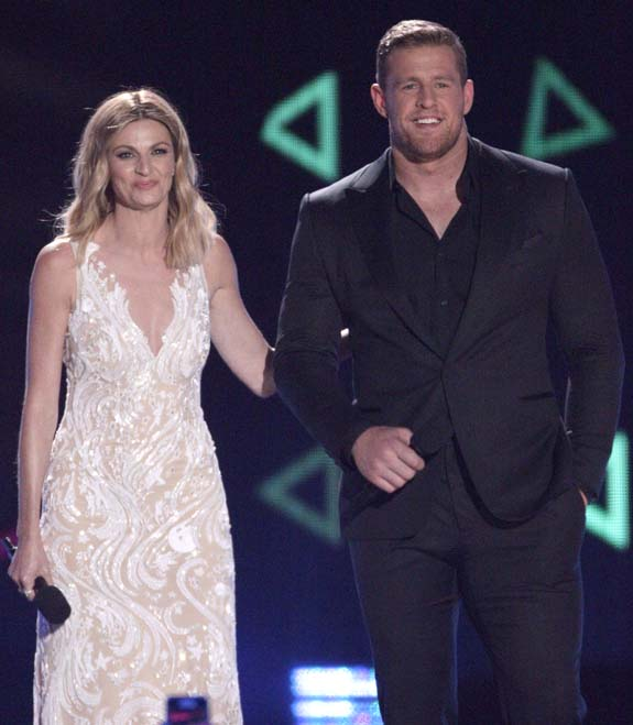 """<div class=""""meta image-caption""""><div class=""""origin-logo origin-image none""""><span>none</span></div><span class=""""caption-text"""">Host Erin Andrews, left,  and J.J. Watt appear on stage at the CMT Music Awards at the Bridgestone Arena on Wednesday, June 8, 2016, in Nashville, Tenn. (Wade Payne/Invision/AP)</span></div>"""