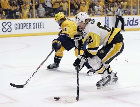 "<div class=""meta image-caption""><div class=""origin-logo origin-image ap""><span>AP</span></div><span class=""caption-text"">Pittsburgh Penguins' Carl Hagelin (62), of Sweden, skates against Nashville Predators' P.K. Subban (76) during the second period. (AP Photo/Mark Humphrey) (AP)</span></div>"