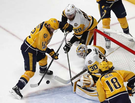 """<div class=""""meta image-caption""""><div class=""""origin-logo origin-image ap""""><span>AP</span></div><span class=""""caption-text"""">Pittsburgh Penguins' Matt Murray (30) and Ian Cole (28) block a shot by Nashville Predators' Mike Fisher during the third period of Game 6. (AP Photo/Jeff Roberson) (AP)</span></div>"""