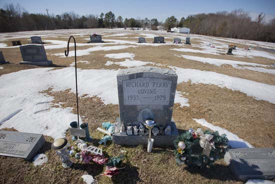 <div class='meta'><div class='origin-logo' data-origin='AP'></div><span class='caption-text' data-credit='J. Scott Applewhite'>The graves of Richard and Mildred Loving are seen in a rural cemetery near their home in Caroline County, Virginia, Sunday, Feb. 16, 2014.</span></div>
