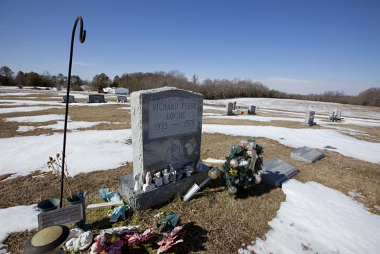 <div class='meta'><div class='origin-logo' data-origin='AP'></div><span class='caption-text' data-credit='J. Scott Applewhite'>The graves of Richard and Mildred Loving are seen in a rural cemetery near their home in Caroline County, Virginia, Sunday, Feb. 16, 2014.</span></div>