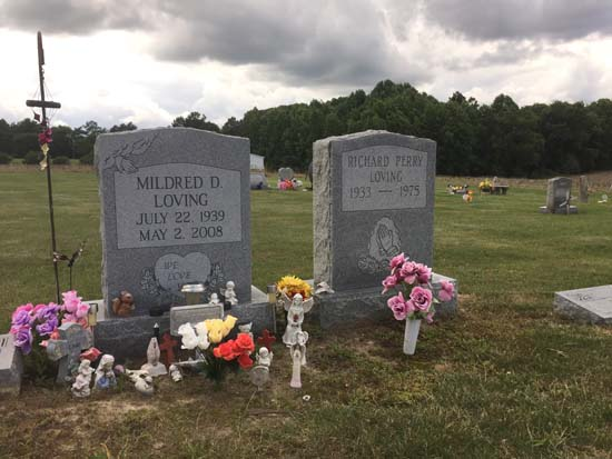 <div class='meta'><div class='origin-logo' data-origin='AP'></div><span class='caption-text' data-credit='Jessica Gresko'>The graves of Richard and Mildred Loving are seen in a rural cemetery near their former home in Caroline County, Virginia, Wednesday, June 7, 2017.</span></div>