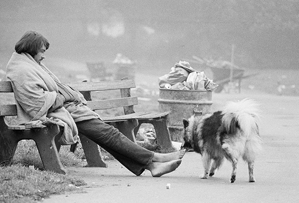 <div class='meta'><div class='origin-logo' data-origin='AP'></div><span class='caption-text' data-credit='AP Photo/ Robert W. Klein'>An unidentified long-haired hippie sits on a fog shrouded bench at Golden Gate Park, September 13, 1967, San Francisco, Calif.</span></div>
