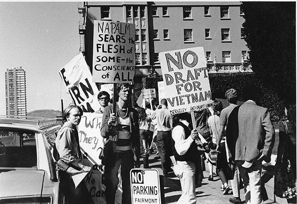 <div class='meta'><div class='origin-logo' data-origin='AP'></div><span class='caption-text' data-credit='AP Photo'>Demonstrators protesting U.S. involvment in the Vietnam War parade in front of the Fairmont Hotel.</span></div>