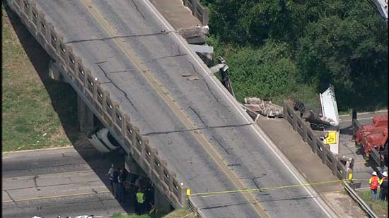 <div class='meta'><div class='origin-logo' data-origin='KTRK'></div><span class='caption-text' data-credit='KTRK'>Police say an 18-wheeler crashed into a bridge in Sealy causing a bridge to collapse on a car.</span></div>