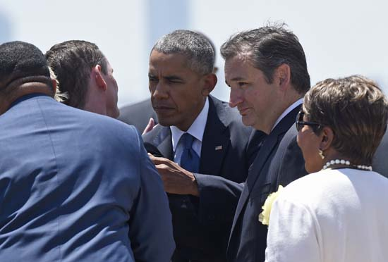 <div class='meta'><div class='origin-logo' data-origin='AP'></div><span class='caption-text' data-credit='AP Photo/Susan Walsh'>President Barack Obama, accompanied by Sen. Ted Cruz, R-Texas</span></div>