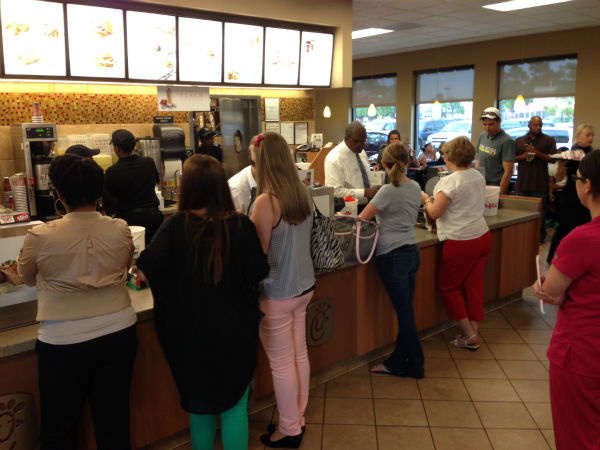 Chick-fil-A held a fundraiser for mass shooting survivor Cassidy Stay on Tuesday. <span class=meta>ABC-13/Linh Nguyen</span>