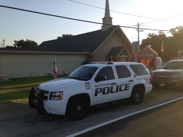 Baytown police responded to a shooting at the Church of New Beginnings. Police say the pastor armed himself and shot an intruder. <span class=meta>KTRK Photo</span>