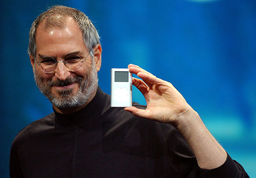 <div class='meta'><div class='origin-logo' data-origin='AP'></div><span class='caption-text' data-credit='AP Photo/Marcio Jose Sanchez'>Apple CEO Steve Jobs displays his company's new product, the Mini-Ipod, at the Macworld Conference and Expo in San Francisco, Tuesday, Jan. 6, 2004.</span></div>