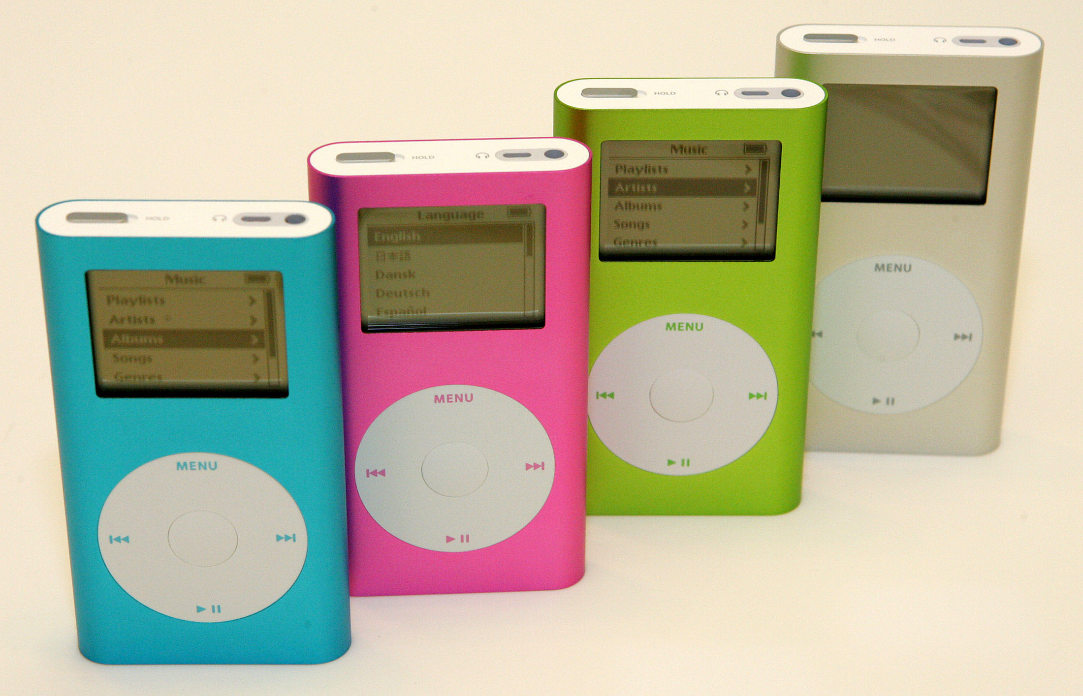 <div class='meta'><div class='origin-logo' data-origin='AP'></div><span class='caption-text' data-credit='AP Photo/Marcio Jose Sanchez'>Apple's new line of iPod minis ae seen at the Apple Store in Palo Alto, Calif. on Wednesday, Feb. 23, 2005.</span></div>