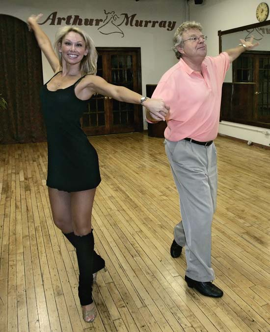 <div class='meta'><div class='origin-logo' data-origin='AP'></div><span class='caption-text' data-credit='AP Photo/Charles Rex Arbogast'>Talk-show host Jerry Springer rehearses dance steps with partner Kym Johnson at a dance studio in Chicago on Friday, Aug. 25, 2006.</span></div>