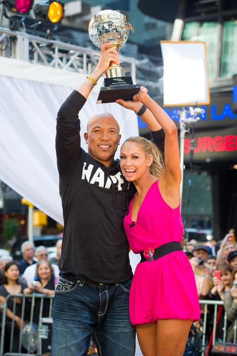 <div class='meta'><div class='origin-logo' data-origin='AP'></div><span class='caption-text' data-credit='AP Photo/Charles Sykes'>Dancing with the Stars winners Hines Ward and Kym Johnson appear on &#34;Good Morning America.&#34;</span></div>