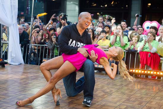 <div class='meta'><div class='origin-logo' data-origin='AP'></div><span class='caption-text' data-credit='AP Photo/Charles Sykes'>Dancing with the Stars winners Hines Ward and Kym Johnson dance on &#34;Good Morning America.&#34;</span></div>