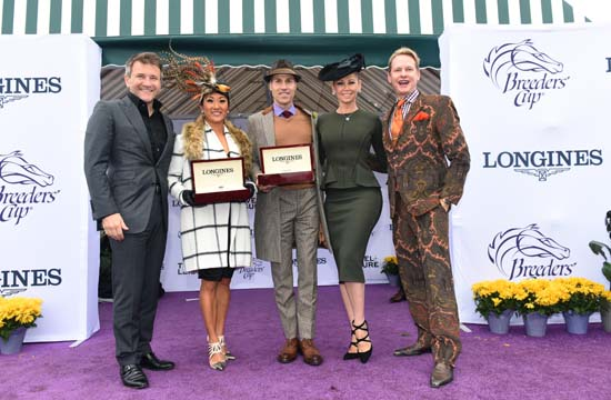 <div class='meta'><div class='origin-logo' data-origin='AP'></div><span class='caption-text' data-credit='Diane Bondareff/Invsion for Longines/AP Images'>Robert Herjavec, left, Kym Johnson, second right,  Carson Kressley, right, pose with Longines Prize of Elegance winners</span></div>