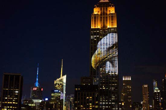 """<div class=""""meta image-caption""""><div class=""""origin-logo origin-image none""""><span>none</span></div><span class=""""caption-text"""">Large images of endangered species are projected on the south facade of The Empire State Building, Saturday, Aug. 1, 2015, in New York.  (AP Photo/ Craig Ruttle)</span></div>"""
