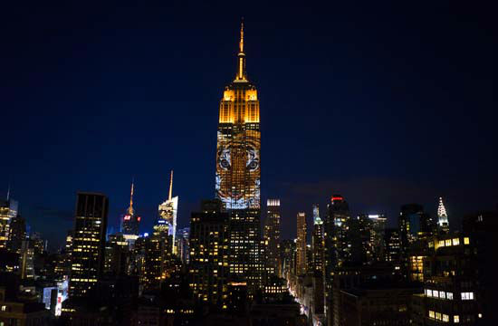 """<div class=""""meta image-caption""""><div class=""""origin-logo origin-image none""""><span>none</span></div><span class=""""caption-text"""">Large images of endangered species are projected on the south facade of The Empire State Building, Saturday, Aug. 1, 2015. (AP Photo/ Craig Ruttle)</span></div>"""