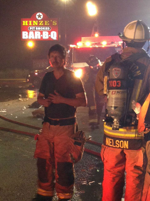 These are photos from Monday night's fire at Hinze's BBQ in Wharton County <span class=meta>Photo/ABC13</span>