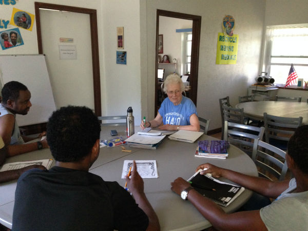 <div class='meta'><div class='origin-logo' data-origin='none'></div><span class='caption-text' data-credit=''>Residents of La Posada Providencia, a shelter in San Benito, near the Texas-Mexico border are being taught civics skills by a visiting.</span></div>