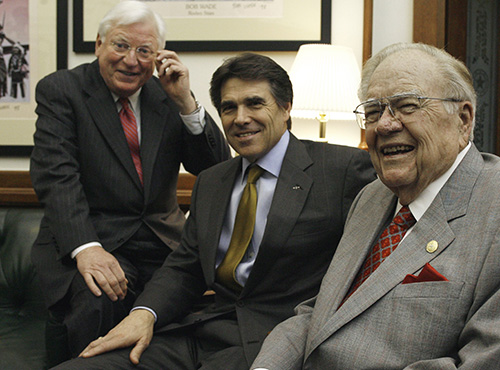 <div class='meta'><div class='origin-logo' data-origin='AP'></div><span class='caption-text' data-credit='AP Photo/Harry Cabluck'>Former Texas governors, Mark White, left, and Dolph Briscoe, right, pose with Gov. Rick Perry in his office Wednesday, April 4, 2007, in Austin, Texas.</span></div>