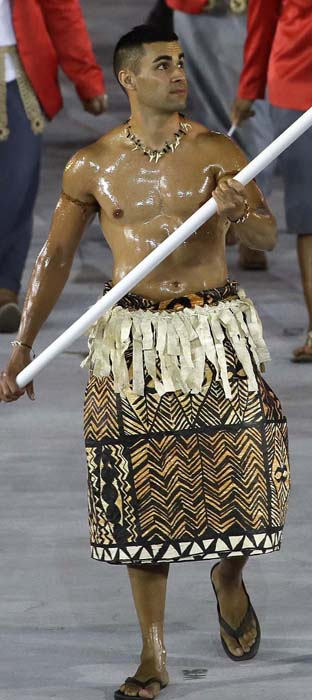 <div class='meta'><div class='origin-logo' data-origin='AP'></div><span class='caption-text' data-credit='AP Photo/Matt Slocum'>Remember this guy? Pita Nikolas Aufatofua was a sensation carrying the flag of Tonga during the opening ceremony.</span></div>