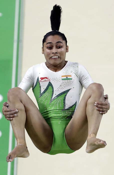 <div class='meta'><div class='origin-logo' data-origin='AP'></div><span class='caption-text' data-credit='AP Photo/Dmitri Lovetsky'>India's Dipa Karmakar performs on the vault AP</span></div>