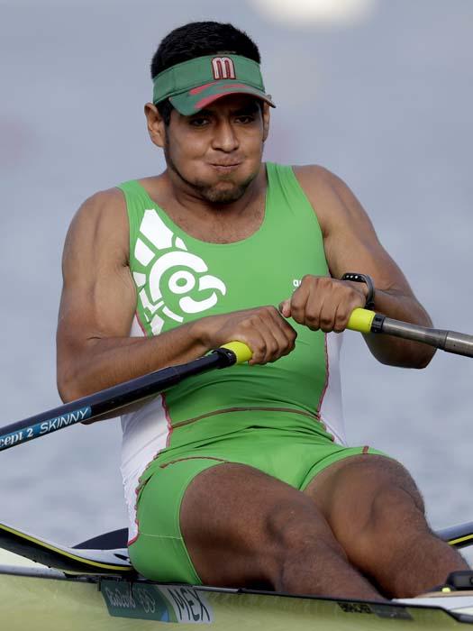 <div class='meta'><div class='origin-logo' data-origin='AP'></div><span class='caption-text' data-credit='AP Photo/Luca Bruno'>Juan Carlos Cabrera, of Mexico, competes in the men's rowing single sculls</span></div>