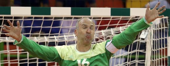 <div class='meta'><div class='origin-logo' data-origin='AP'></div><span class='caption-text' data-credit='AP Photo/Ben Curtis'>France's Thierry Omeyer during the men's preliminary handball match</span></div>