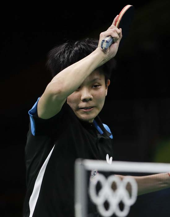 <div class='meta'><div class='origin-logo' data-origin='AP'></div><span class='caption-text' data-credit='AP Photo/Natacha Pisarenko'>Ching Cheng of Taiwan plays against Li Xiaoxia of China during their table tennis match</span></div>