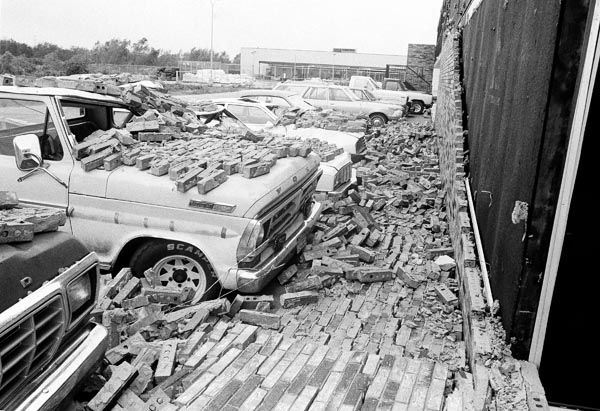 <div class='meta'><div class='origin-logo' data-origin='none'></div><span class='caption-text' data-credit='AP Photo/ Joe Caneva'>Brick wall of a motel came tumbling  down as Hurricane Alicia?s winds and tornado knocked on parked cars at Webster, Texas on Thursday, August 18, 1983.</span></div>