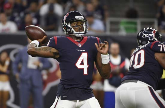 <div class='meta'><div class='origin-logo' data-origin='AP'></div><span class='caption-text' data-credit='Eric Christian Smith'>Houston Texans quarterback Deshaun Watson (4) throws against the New England Patriots during the first half of an NFL preseason football game Saturday, Aug. 19, 2017, in Houston.</span></div>